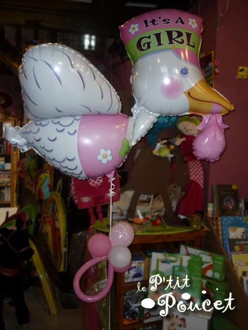 Ballon de naissance Cygogne